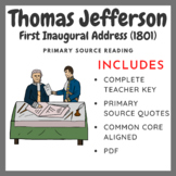 Thomas Jefferson First Inaugural Address (1801) - Primary Source Activity