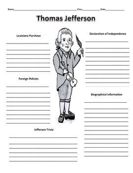 3rd President - Thomas Jefferson Graphic Organizer
