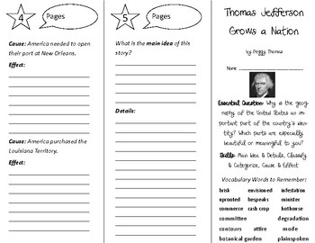 Thomas Jefferson Grows a Nation Trifold - Open Court 5th Grade Unit 5 Lesson 4