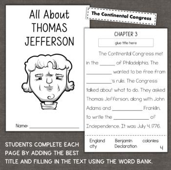 Thomas Jefferson Reading Comprehension Interactive Book Activity