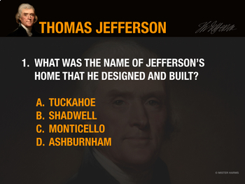 THOMAS JEFFERSON: An Introductory Quiz in Google Drive Format