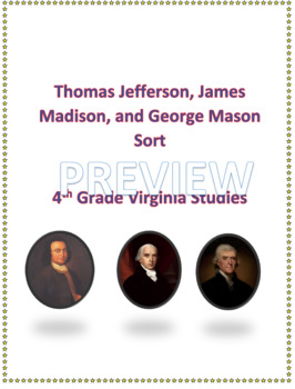 Thomas Jefferson, James Madison, George Mason sort for Virginia Studies