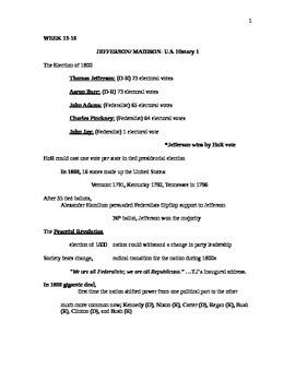 Thomas Jefferson/ James Madison Lecture Notes