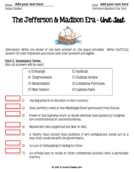 Thomas Jefferson, James Madison, War of 1812 Unit Test