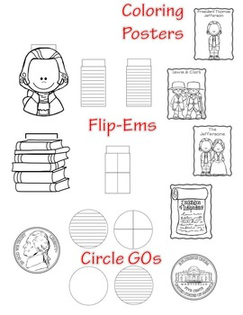 Thomas Jefferson  Mini Research Fold-Ems, Word Wall, & Writing Templates