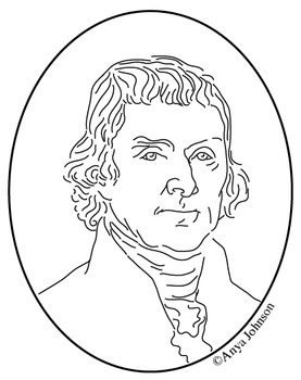 Thomas Jefferson (3rd President) Clip Art, Coloring Page or Mini Poster