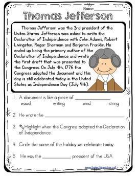 Thomas Jefferson Reading Passage