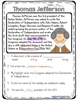 Thomas Jefferson Reading Passage