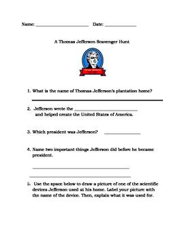 Thomas Jefferson Scavenger Hunt Activity