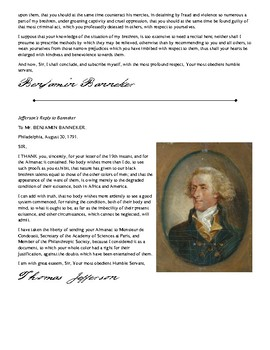 Thomas Jefferson and Benjamin Banneker Primary Source Activity