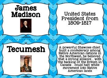Thomas Jefferson, James Madison, War of 1812 Flash Cards
