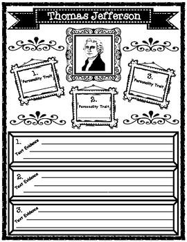 Thomas Jefferson and Robert Livingston Personality Traits Graphic Organizers