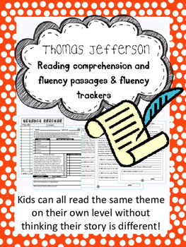 Thomas Jefferson fluency and comprehension leveled passage