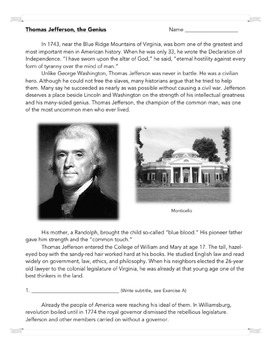 Thomas Jefferson, the Genius: Common Core-Aligned Biography and Assessment