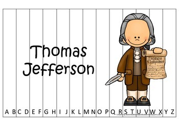 Thomas Jefferson themed Alphabet Sequence Puzzle.  Preschool learning game.