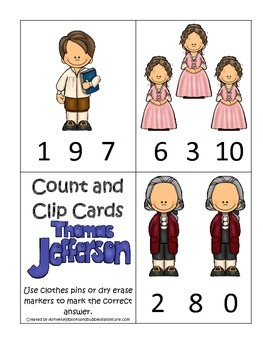 Thomas Jefferson themed Count and Clip Numbers Cards.  Preschool learning game.