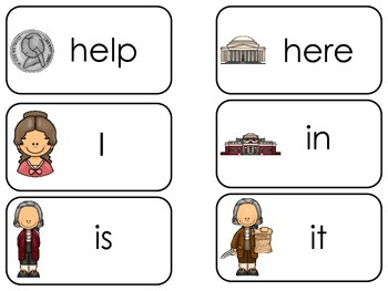 Thomas Jefferson themed Dolch Pre-Primer Sight Word Flash Cards. Prints 40 cards