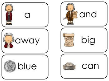 Thomas Jefferson themed Dolch Pre-Primer Sight Word Flash