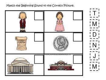 Thomas Jefferson themed Match the Beginning Sound.  Preschool learning game.