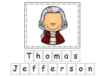 Thomas Jefferson themed Match the Letters Spelling.  Preschool learning game.