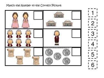 Thomas Jefferson themed Match the Numbers Math.  Preschool learning game.