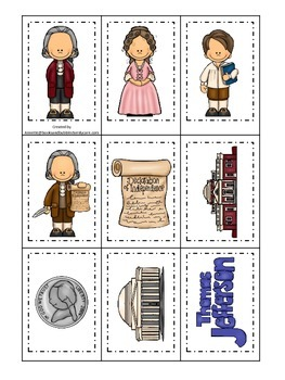 Thomas Jefferson themed Memory Matching Cards.  Preschool learning game.