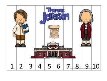 Thomas Jefferson themed Number Sequence Puzzle 1-10.  Preschool learning game.