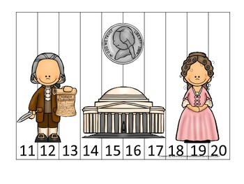 Thomas Jefferson themed Number Sequence Puzzle 11-20.  Preschool learning game.
