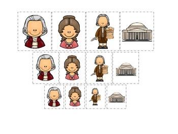 Thomas Jefferson themed Size Sorting preschool learning ga