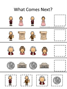 Thomas Jefferson themed What Comes Next preschool learning game. Daycare.
