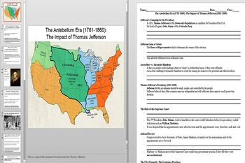 Thomas Jefferson's Presidency and The Louisiana Purchase Powerpoint & Worksheet