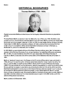 Thomas Malthus  Biography Article and (3) Assignments