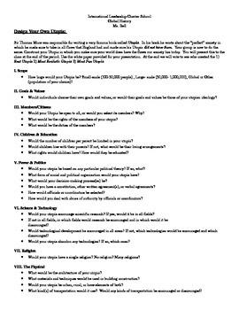 Utopia Worksheet   Teachers Pay Teachers