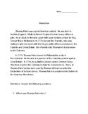 Thomas Paine American Patriot Reading Comprehension