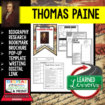 Thomas Paine Biography Research, Bookmark Brochure, #TPTFIREWORKS