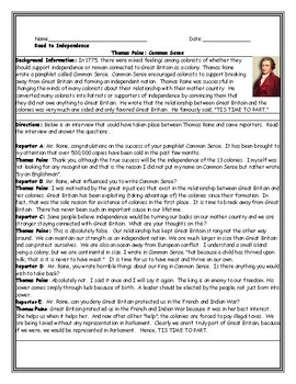 Thomas Paine Common Sense Interview Worksheet with Questions and Answer Key