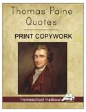 Thomas Paine Quotes Print Copywork Notebook