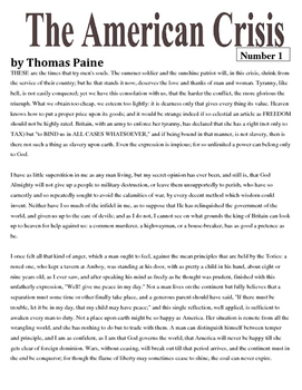 """Thomas Paine: """"The Crisis, No. 1"""" Close Reading with Scaffolding"""