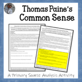 Thomas Paine's Common Sense American Revolution Document Analysis Activity