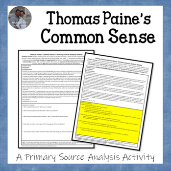 Thomas Paine's Common Sense American Revolution Document Analysis Activity