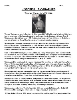 Thomas Wolsey  Biography Article and (3) Assignments