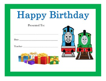 Thomas the Train Birthday Certificates (Includes 6 Certificates)