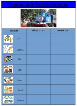 Thomas the Train PECTS Daily Schedule