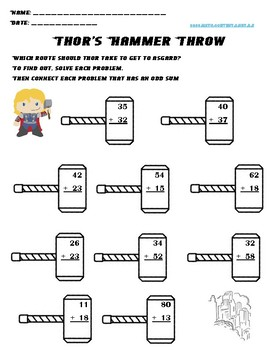 Thor's Hammer Throw: No Prep. Two digit addition and Subtraction Review