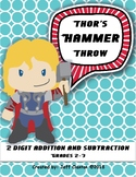 Thor's Hammer Throw: No Prep. Two digit addition and Subtr