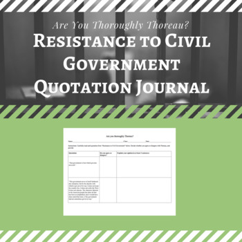 """Are You Thoroughly Thoreau? """"Resistance to Civil Government"""" Quotation Journal"""