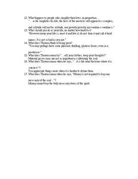Thoreau Walden Comprehensive Questions and Answers