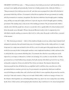 Thoreau's Civil Disobedience AP Language Analysis Prompt Work