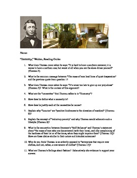 "Thoreau's Walden Reading Guide for ""Economy"""