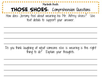 Those Shoes by Maribeth Boelts:    A Complete Literature Study!